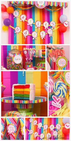 Sweet Lollipop Birthday Party  printable decoration by www.leelaaloo.com - lollipop banner idea