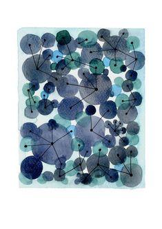 CIJ SALE Sale Constellation indigo Blue dots by LouiseArtStudio