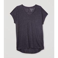 LOFT Petite Easy Linen Tee ($30) ❤ liked on Polyvore featuring tops, t-shirts, shirts, coastal grey, tee-shirt, short-sleeve shirt, grey shirt, v neck shirt and v-neck tee