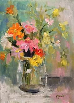 Impressionistic painting of flowers
