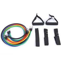 11Pcs/Set Pilates Latex Tubing Exercise Tubes Practical Elastic Training Rope Resistance Bands  Sets Crossfit Fitness Equipment