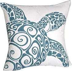 DECOPOW Embroidered Cute Nautical Animal Pillow Covers,Square 18 Inches Decorative Canvas Pillow Cover for Nautical Style Deco by (Seagreen-Sea Turtle) Nautical Cushion Covers, Nautical Cushions, Sofa Throw Pillows, Throw Pillow Covers, Embroidered Cushions, Decorative Pillow Cases, Koh Tao, Animal Pillows, Nautical Style