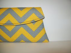 Love it. Yellow and Gray Clutch with Detatchable by MSGFabriCreations. , via Etsy.