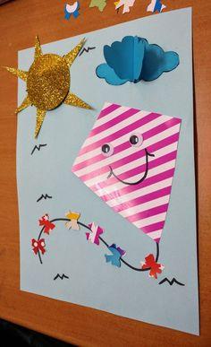 Uçurtma Summer Crafts For Kids, Art For Kids, Diy And Crafts, Arts And Crafts, Paper Crafts, Kindergarten Activities, Preschool Activities, Toddler Crafts, Preschool Crafts