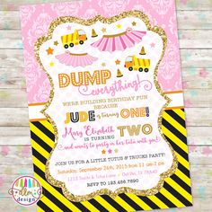 Dump Truck and Tutu Invitation, Trucks and Tutus Double Birthday Invitation, Joint Birthday Invite, Brother and Sister, Printable Invite Sibling Birthday Parties, Combined Birthday Parties, Joint Birthday Parties, Twins 1st Birthdays, Baby First Birthday, Birthday Fun, Birthday Party Themes, Birthday Ideas, Tutu Invitations