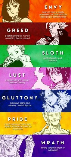 The seven deadly sins.I know it's pictures are from another anime but it's still related to Servamp Bts Anime, Film Anime, Manga Anime, Otaku Anime, Anime Cosplay, Anime Art, Seven Deadly Sins Anime, 7 Deadly Sins, Seven Deadly Sins Symbols