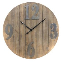 Track the hours in rustic chic style with the Gild Design Home Serdica Wall Clock . Fashioned out of genuine wood slats left in their natural color,. Metal Numbers, Clock Numbers, Transitional Wall Clocks, Shanty Chic, Pallet Clock, Wall Clock Design, Diy Clock, Pallet Creations, Wood Slats