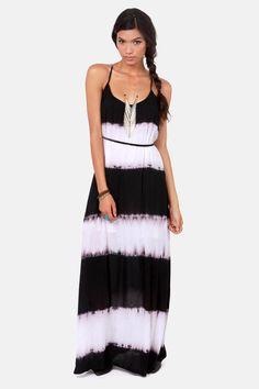 Costa Blanca Tie-Dye-al Wave Black and White Maxi Dress at LuLus.com!