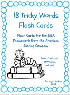 I've made NEW AND IMPROVED flashcards but I'm leaving the same great low price! These cards are for the 1B level of the IRLA framework from the American Reading Co. This comes with a blue set of cards for easy color coding by level as well as a black and white set for a nice crisp dark print while saving color ink.
