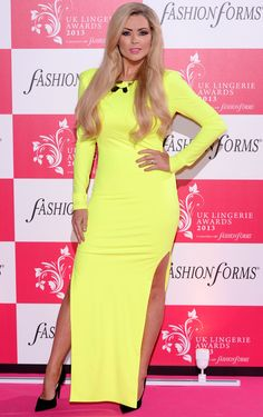 **TREND ALERT** Nicola Mclean looks absolutely stunning in this neon figure hugging dress, with a split up each side for a dramatic statement look! Perfect for adding a pop of colour to your wardrobe and great for a night out! Visit our website now to get the look - www.lovepinkboutique.com/new/zara-lime