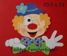 Teddys Fensterbilder 8 ´ Clownkopf 4  ` Tonkarton