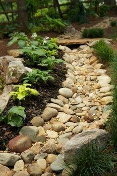 Shade Garden Design by Pike Nurseries Landscape Design, dry creek bed, nice! Rain Garden, Garden Paths, Lawn And Garden, Gravel Garden, Spring Garden, Garden Edging, Potager Garden, Garden Grass, Garden Tub