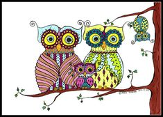 Owl family Illustration - Illustrated Owls - Flower Owls - Illustration Print