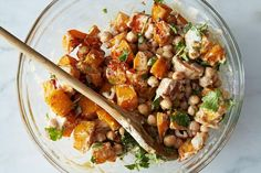 Moro's Warm Squash & Chickpea Salad with Tahini. my friend just made this today and it was so good! creamy and yum!