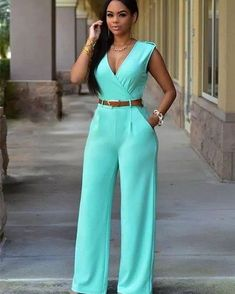 Sky Blue Sleeveless Casual Jumpsuit Long Pants Rompers For Women - XL Rompers Women, Jumpsuits For Women, Fashion Jumpsuits, Trendy Fashion, Fashion Outfits, Womens Fashion, Style Fashion, Romper Long Pants, Pant Romper Outfit