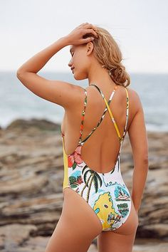 50ce259442858 Out From Under Print Scoop Back One-Piece Swimsuit Swimwear Sale