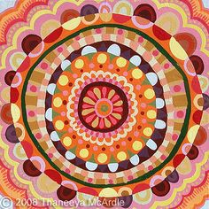 Abstract Mandala Acrylic Painting by Thaneeya McArdle Mandalas Painting, Mandala Art, Painting Lessons, Art Lessons, Pattern Art, Abstract Pattern, Pattern Design, 5th Grade Art, Colorful Abstract Art