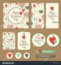 Set Of Cards, Gift Tags And Labels With Hearts And Arrows For Valentine'S Day. Vector Illustration. - 372787774 : Shutterstock
