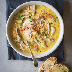 This creamy chicken soup is so great for cold winter nights – filling and warming with a delicious touch of heat from the chipotle sour cream. Healthy Chicken Soup, Vegetarian Chicken, Chicken Soup Recipes, Chicken Bacon, Creamy Chicken, Chicken Soups, Chicken Soup For Colds, Chicken Lentil Soup, Chicken Avacado