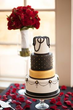 Classic black, white, and gold wedding cake