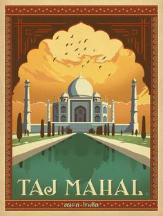The Lost Boys American Teen Horror Movie Film Poster Print 24 by 36 Taj Mahal, Agra India vintage travel poster City Poster, Poster Art, Kunst Poster, Taj Mahal, Vintage Travel Posters, Vintage Postcards, Poster Retro, India Poster, Tourism Poster