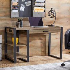 Rustic Computer Desk Industrial Home Office Furniture Home Office Design Computer Desk Design, Wood Computer Desk, Wood Desk, Wood And Metal Desk, Wood Shelf, Home Office Desks, Home Office Furniture, Diy Furniture, Furniture Design