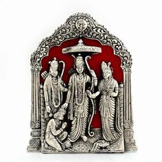 Antique Rajasthani Spiritual Lord Ram Darbar Idol In Fine White Metal_UFC00265