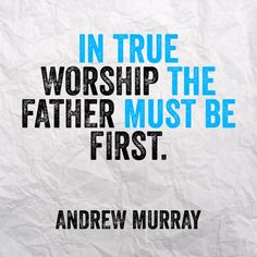 "Jesus began his model prayer with, ""Our Father in heaven, holy is Your name! Your kingdom come. Your will be done on earth as it is in heaven.. Give us our daily bread."" He reversed the order! Andrew Murray explains: ""In true worship the Father must be first, must be all."" This is from Andrew Murray's With Christ in the School of Prayer. Get this book free at http://callup.org/ebooks or audio book at http://callup.org/audio"