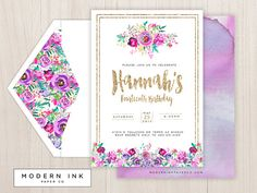 Glitter & Floral Birthday Party Invitation. Printable Digital
