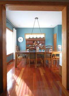 My Dining Room with Oak Trim (paint color: Sherwin Williams Moody Blue) - REALLY LIKE THIS BLUE WITH THE OAK! : )