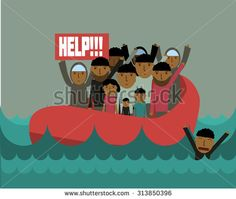 Syrian refugees on boat.  Civil war in Syria. Cirian crisis. emigrants. Human immigration - stock vector