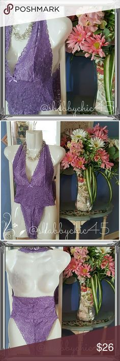 Lovely Lilac Halter Style Teddy by VS EUC Like New! This beautiful, feminine and very sexy teddy from VS is absolutely stunning! The deep plunge neckline and high cut legs are extremely flattering and super sexy, and the beautiful lilac stretch lace provides just enough coverage to entice. And on top of that, the lace fabric is extremely soft and comfortable.   ??Smoke free home. No trades. Open to reasonable offers unless marked as firm.  Happy Poshing!! ?? Victoria's Secret Intimates…