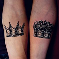 """Ink Your Love With These Creative Couple Tattoos - crown couple tattoo © tattoo artist Marcin """"PROCHU"""" Proszowski ❤👑❤👑❤👑❤ - Crown Couple Tattoo, Crown Tattoo Men, Small Crown Tattoo, Best Couple Tattoos, Crown Tattoo Design, Best Neck Tattoos, Unique Tattoos, Sleeve Tattoos, King Tattoos"""