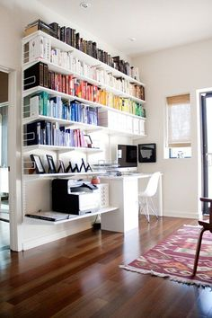 trendy home office bookshelves ikea apartment therapy White Bookshelves, Open Shelves, Book Shelves, Hanging Bookshelves, Office Bookshelves, Office Shelving, Bookshelf Desk, Book Storage, Bookshelves