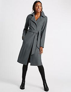Buy the Wool Blend Double Face Trench Coat from Marks and Spencer's range. Wrap Coat, Polo Neck, Wide Leg Trousers, Coats For Women, Trench, Wool Blend, Winter Outfits, Autumn Fashion, Fashion Outfits