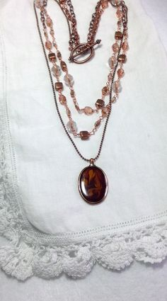 Rose Gold & Copper Beaded Chain Necklace Vintage Root Beer Float Pendant Wire Wrapped Czech Glass Beads Multi Chains Unique!  WishAnWear by WishAnWearJewelry on Etsy