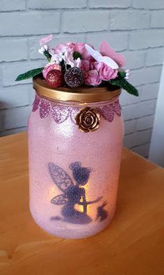 Fairy with rabbit luminary jar. Fairy with rabbit luminary jar. Pot Mason, Mason Jar Gifts, Mason Jar Diy, Fairy Crafts, Diy And Crafts, Fairy Jars, Mason Jar Fairy Lights, Fairy Lanterns, Lantern Designs