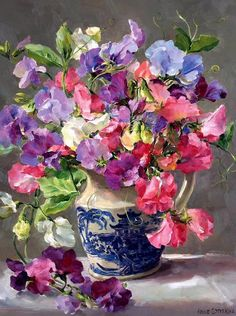 Suerte con el pensamiento Peas in a Blue and White Jug - Birthday Card by Anne Cotterill Beautiful Flower Arrangements, Floral Arrangements, Beautiful Flowers, Flower Oil, Flower Vases, Flower Painting Canvas, Flower Paintings, Oil Paintings, Flower Of Life
