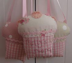 Laura Ashley Fabric Cupcake Door hanger Sign door tinycherubs, $9.50