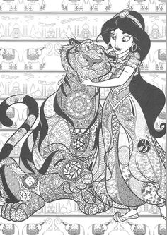 Jasmine & Rajah Colouring Page Detailed Coloring Pages, Adult Coloring Book Pages, Cartoon Coloring Pages, Colouring Pages, Disney Coloring Sheets, Disney Princess Coloring Pages, Disney Princess Colors, Lisa Frank Coloring Books, Zen Colors