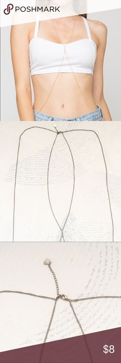 Brandy Melville body necklace Brandy Melville body necklace | one size | worn twice, perfect condition | How to Wear: head goes through middle loop, each arm goes through respective side loop. | Brandy Melville Jewelry Necklaces