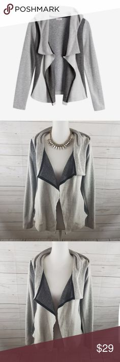 """Pixley Channing French terry Drape Hood XS Pixley Channing French terry hoodie XS  Has pockets  Chest 17.5"""" Hip 17""""  Length 23"""" All Measurements are taken while lying flat draped so an estimate and can hang differently on each person  038-011017 Pixley Sweaters Cardigans"""
