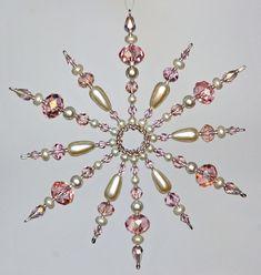Eiskristalle mit Perlen pink - Satz mit 4 Stück von BusinKa auf DaWanda.com