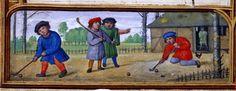 Гольф-книга (средневековье) - В нижней части листов манускрипта показаны забавы детей; на сентябрьском листе календаря дети играют в игру с мячом и клюшками, которая напоминает гольф: