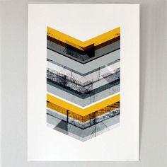 Grey & Yellow Chevron  large print by mrseliotbooks on Etsy, £23.00