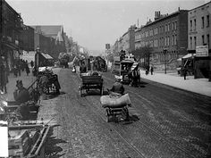 Old Kent Road, Southwark, London .It is shown here in the late century.The street was often lined with stalls and barrows selling all manner of wares. My Great grandfather was a barrowman in southwark Victorian London, Vintage London, Old London, South London, Victorian Era, London Pictures, London Photos, Old Pictures, Old Photos