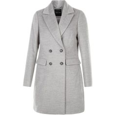 Grey Double Breasted Coat ($28) ❤ liked on Polyvore featuring outerwear, coats, grey, double-breasted coat, gray coat, long sleeve coat and grey coat
