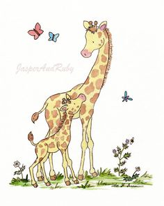 Jungle Nursery Art-  Giraffe Art Print- Georgie and Mama - 8x10 Archival PRINT for Baby And Children- Jungle Safari Nursery Decor