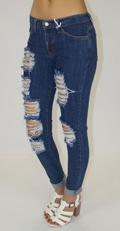 Groovy and stylish pair of distressed jeans for women who love to be expressive and flamboyant in everything they do. Get into one of those pairs for yourself!