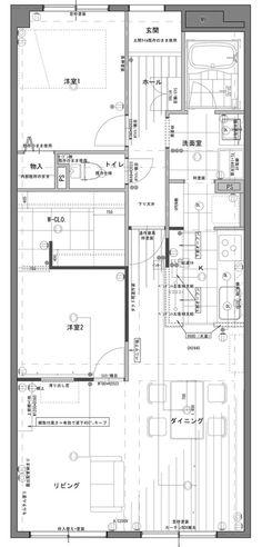リノベーション後の間取り図 Case, Floor Plans, How To Plan, Architecture, Log Projects, Arquitetura, Architecture Design, Floor Plan Drawing, House Floor Plans